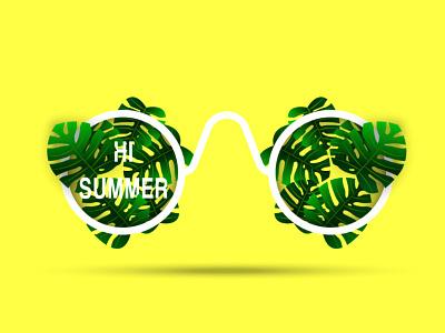 Summer poster hi summer hello summer banner poster realistic yellow shape vector illustration design typography botanic sunglasses leaf leaves monstera plant summer party summer flyer summer