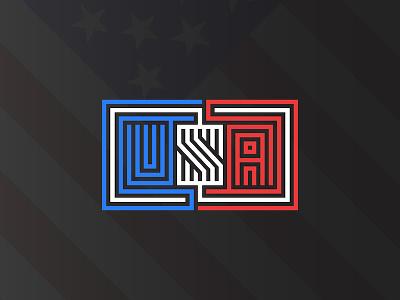 USA lettering American flag background usa flag linear america national day design letter line t-shirt print t-shirt design typography maze shape monogram vector illustration american flag logo emblem usa