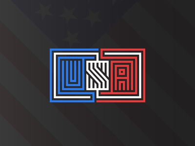 USA lettering American flag background