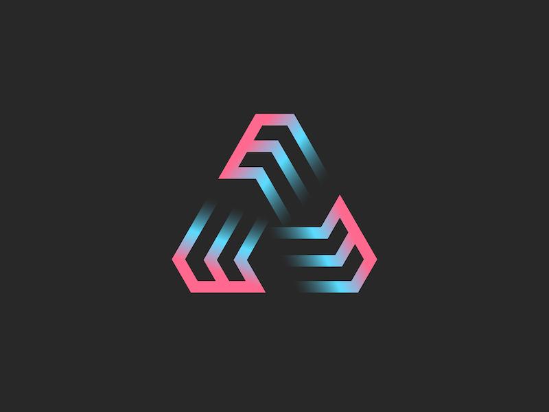 Three letters E or futuristic triangle symbol by Sergii