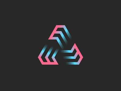 Three letters E or futuristic triangle symbol
