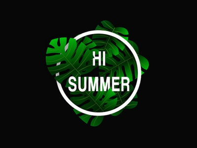 Hi summer poster realistic monstera illustration green leaf plant emblem typography vector poster design design summer party summer flyer hello summer hi summer