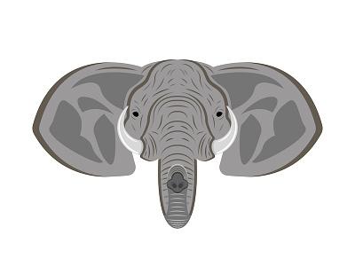 Elephant head ganesha elephant head front animal art animal illustration tusks design illustration vector emblem elephant