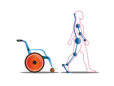 Disabled person concept