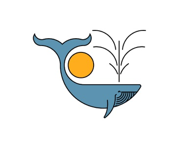 Blue whale illustration fountain ocean life sea animals marine life icon minimal simple logo typography design emblem sun branding illustration whale logo humpback whale blue whale
