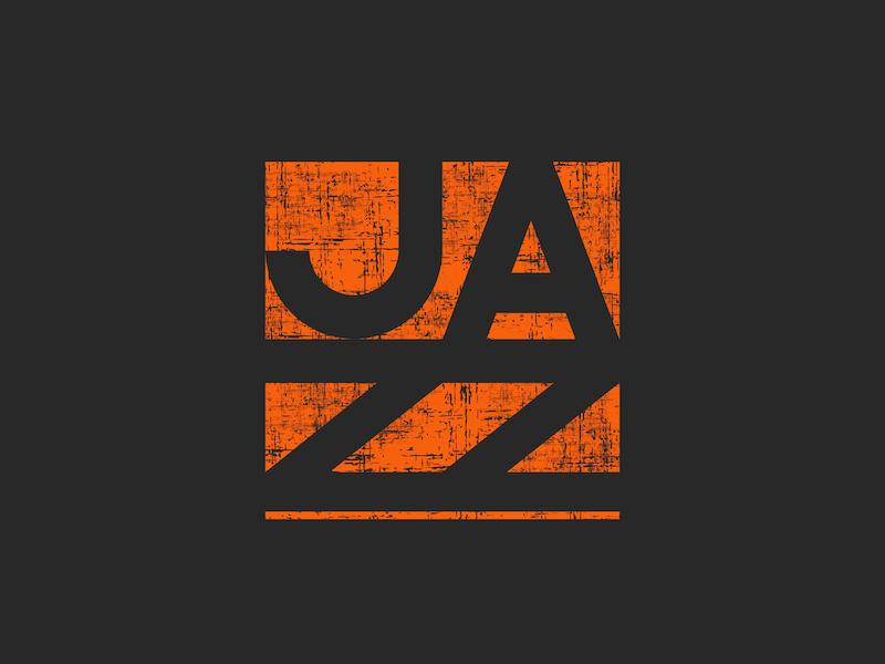 Music Jazz lettering emblem print design emblem design branding minimal simple orange lettering design logo emblem typography music poster music label jazz logo jazz music logo music app
