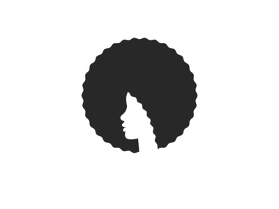 Head African American young woman with afro hairstyle logo