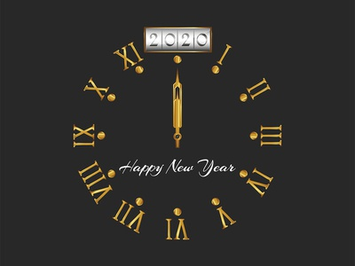2020 Happy New Year, golden old style clock