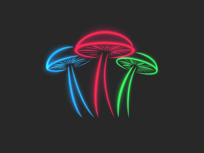 Mushrooms neon illustration food illustration food logo simple vector shape glowing glow in the dark psilocybin mushrooms toxic neon sign neon light illustration mushrooms