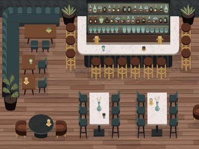 Hotel Bar top-down hand-drawn procreate cocktails hotel bar background art background illustration illustration