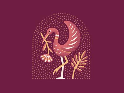Crane Logo stipple floral illustration truegrittexturesupply logodesign branding logo crane