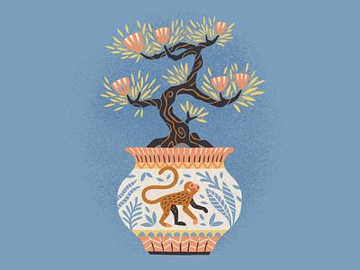 Bonsai Boi texture drawing houseplants plants decorative sketchbook truegrittexturesupply bonsai monkey illustration