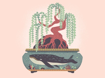 Bonsai #3 houseplant drawing truegrittexturesupply willow coral whale bonsai procreate illustration art print