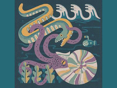 Nautilus v2 design texture serpent truegrittexturesupply illustration undersea nautical nautilus