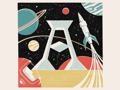 A is for Astronaut vintage matchbox rocket illustration astronaut 36daysoftype08 alphabet