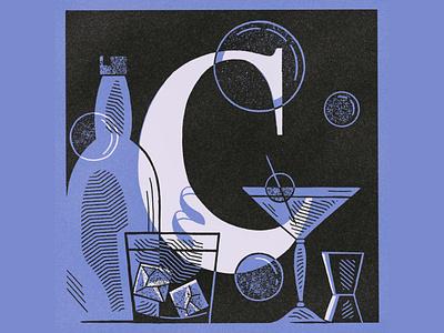 C is for Cocktails matchbox vintage glass cocktails illustration alphabet letter c lettering 36daysoftype08