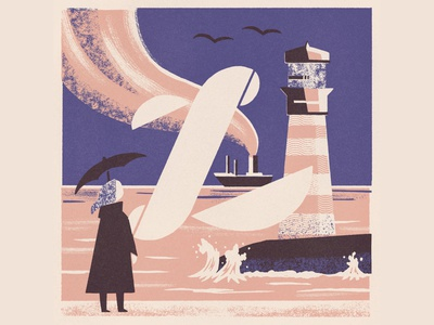 L is for Lighthouse vintage matchbox alphabet illustration 36 days of type 08 36daysoftype lighthouse