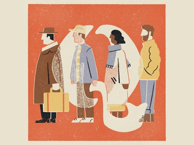Q is for Queue illustration 36daysoftype08 36daysoftype q people queue lettering alphabet