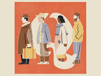Q is for Queue illustration 36daysoftype08 36daysoftype q people queue lettering alphabet