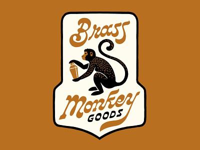 Brass Monkey Patch booze cocktail patch design lettering branding logo monkey illustration brass monkey