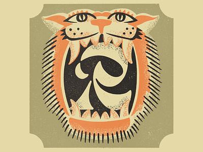 R is for Roar matchbox badge roar tiger alphabet r letter lettering illustration