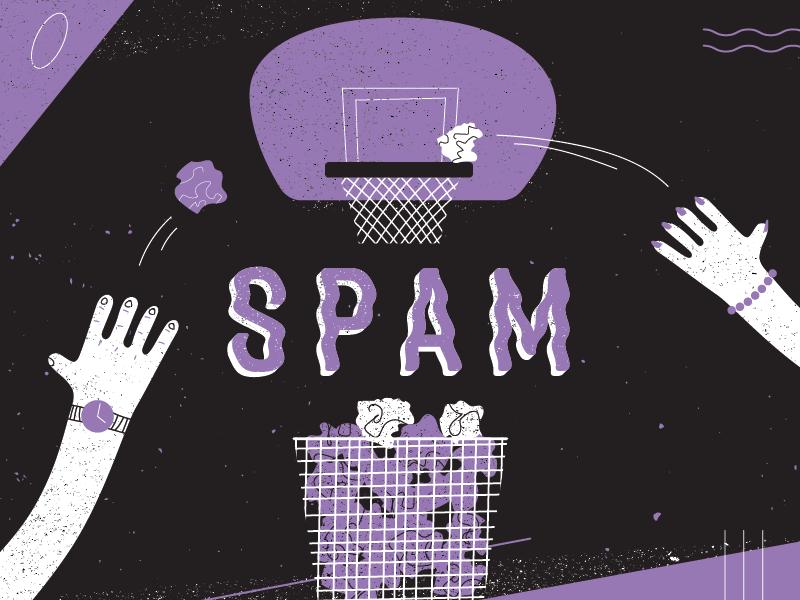 The Dreaded... bin basketball trash hands vector illustration spam