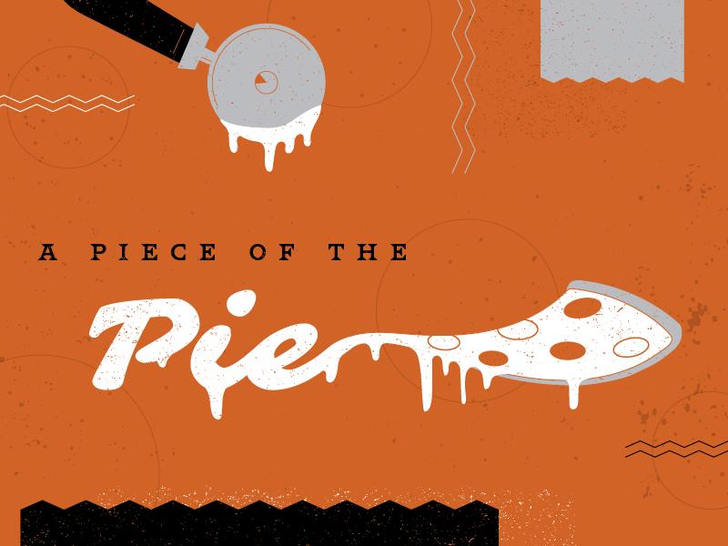 Cheesy typography design illustration pie pizza
