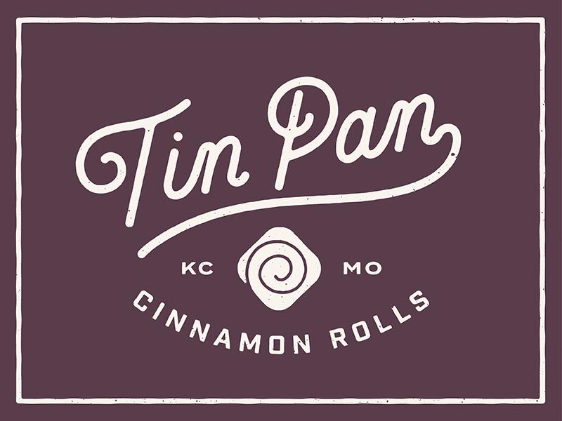 Tin Pan Cinnamon Rolls brand roll cinnamon lettering logo