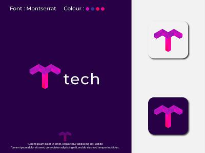 Modern T letter logo design