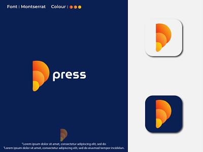 Modern abstract mark p letter logo design
