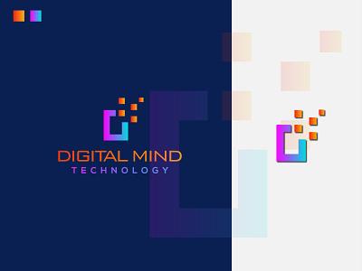 letter D + Technology logo design