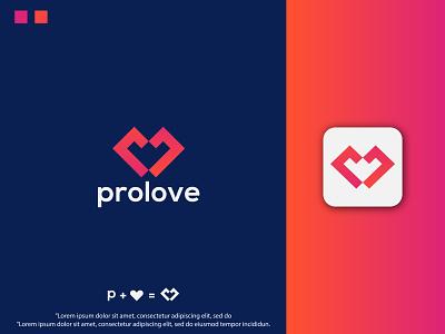 Modern love + P letter logo design