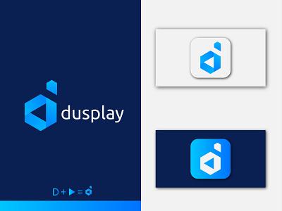 Modern letter D+ Play icon logo design