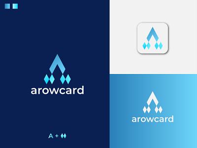 Modern letter A + card icon logo design abstract mark logo adobe illustrator