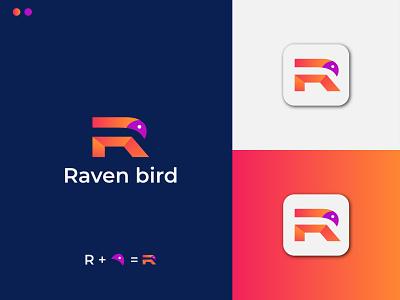 Modern letter R + Bird icon logo design logogrid