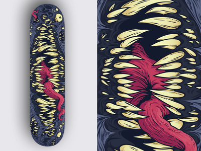 The Maw monster skin creepy mouth hand dungeons and dragons maw teeth eyes tounge deck skateboard illustration