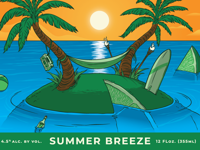 Summer Breeze... waves sunset hammok board surf bottle ball tree palm island ocean lime beach three rings brewery can label beer illustration
