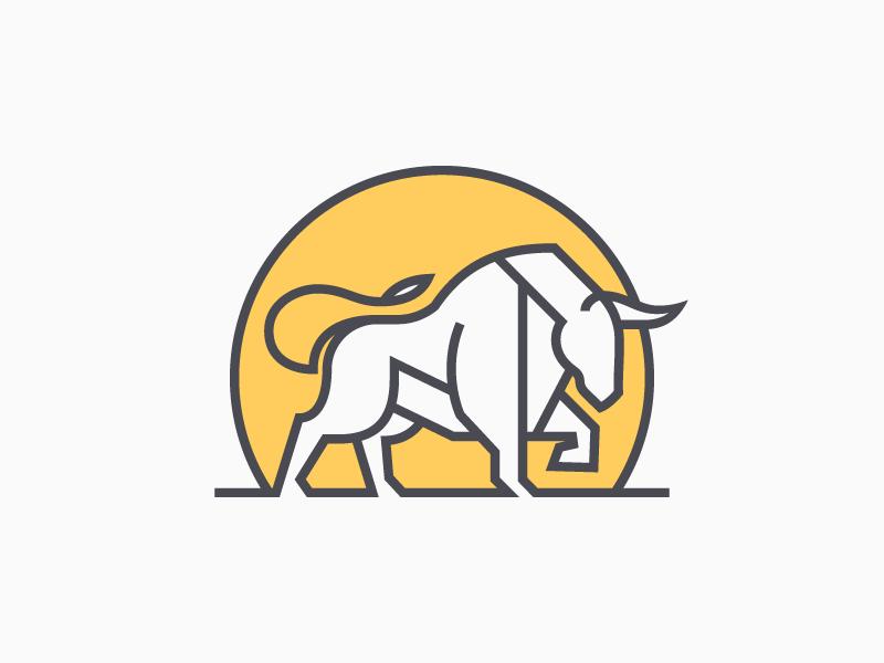 Bull geometric stamp line bank logo cow bull