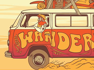 Wanderlust dust travel three rings brewery irish beard hippie van wanderlust label can beer