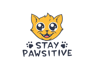 Stay Pawsitive encouragement smile positive cartoon cute cat kitty
