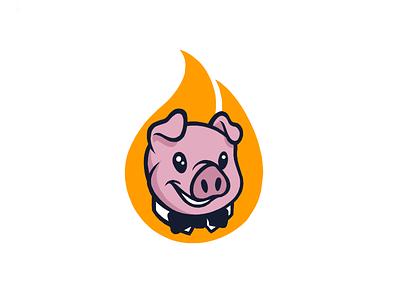 Fancy Pig cute cartoon bbq tux tie bow fire pig