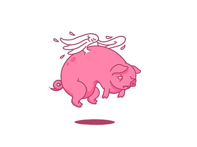 Floating Porker heavy bird snout oink pink wings pig flying
