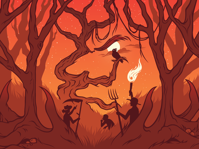 Witch Hunt illustration dead tree haunt label hunt crow torch mob farmer witch can beer