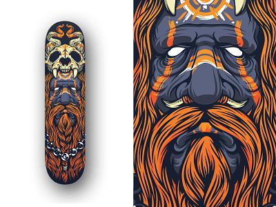 Shaman Deck bone deck old paint face cougar tribal skull beard magic shaman skateboard