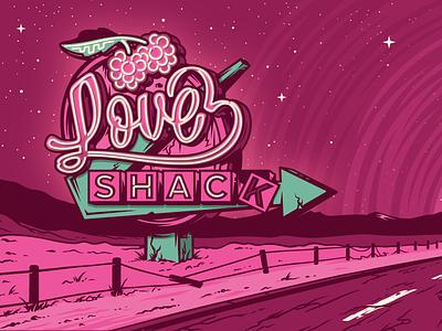 Love Shack van brewery rings three label beer trip raspberry neon sign neon road shack love