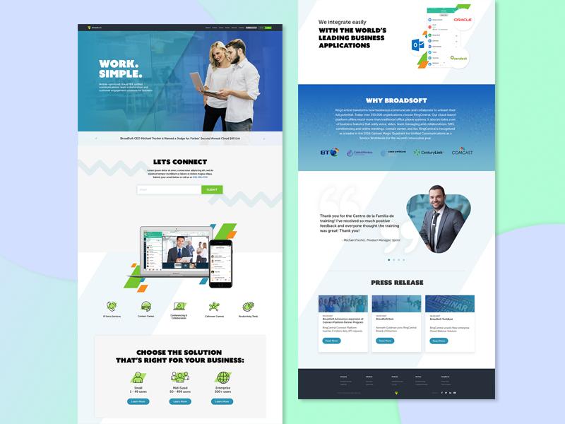 Broadsoft company website homepage redesign design web