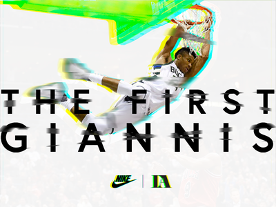 The First Giannis basketball nba sports nike poster banner design graphic