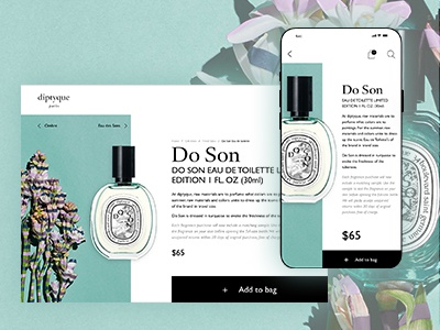 Diptyque Product page web graphic design web designer simple clean uidesign ui mobile ui webdesign app fashion app ecommerce beauty fashion diptyque mobile design web design
