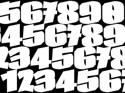 Numbers Extra black typography calligraphy lettering type design skeleton type design