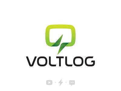 VoltLog - Visual Identity green voltage identity logo electronics volt vlog